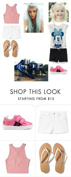 """playground"" by lemondrop11 ❤ liked on Polyvore featuring Disney, Old Navy, Gucci, Gap and Hollister Co."