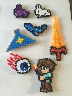 The Twins' perler bead creations they made for their Terraria table at their birthday party.