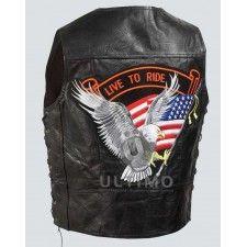 USA Flag Vest with Eagle Black Leather Jacket