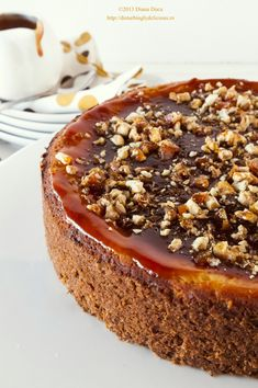 Caramel Cheesecake with Walnut Crunch