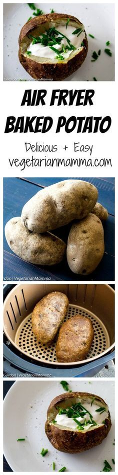 Air Fryer Baked Potato, Baked Potatoes, Side Dish Recipes, Side Dishes, Dinner Recipes, Vegetarian Recipes, Cooking Recipes, Vegetable Recipes, Healthy Recipes