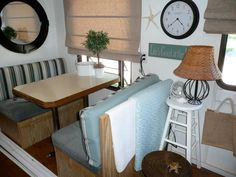 "Glamping, Camper Trailer Makeover.  AKA ""The Beach House"" ;) Camper Trailers, Glamping, Office Desk, Beach House, Dining Table, Beach Houses, Desktop, Desk, Travel Trailers"