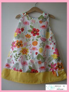 """robe trapèze chasuble évolutive fille 5 / 6 ans """"petit flamand rose et fleurs"""""""