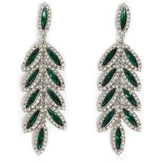 Forever21 Faux Gem Chandelier Earrings (195 CZK) ❤ liked on Polyvore featuring jewelry, earrings, joia, green, green jewellery, forever 21, green earrings, post back earrings and gem earrings