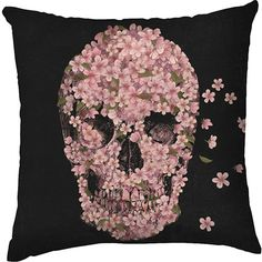 Capa para Almofada Caveira Floral Preta/Rosa Poliéster (40x40cm) - Haus For Fun
