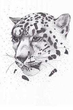 leopard_graphic_art_ink_pointillism _drawing using points