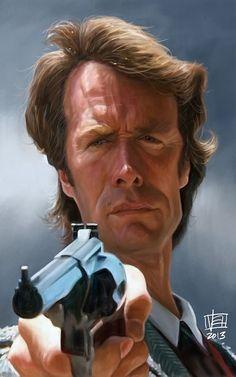 Caricatura de Clint Eastwood como Harry el sucio.