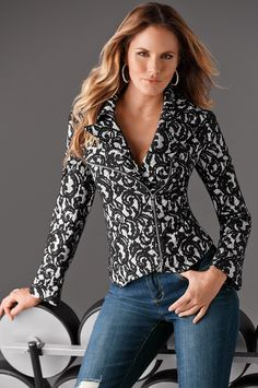 Boston Proper Lace Motorcycle JacketStunning white motorcycle jacket covered in black lace with silver tone zippers. Can be dressed up or down. Pre-owned but in like new condition! Only Fashion, Womens Fashion, Lace Jacket, Boston Proper, College Outfits, Work Outfits, Maxi Wrap Dress, Beanie, Boho Tops