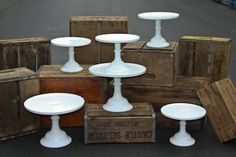 Mosser cake stands and wood crates via One True Love Vintage Rentals for dessert table