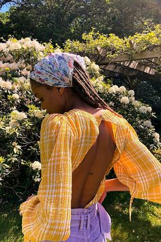 Free People - Bodysuit - Summer - Cute - Plaid - Yellow - Open Back - Puff Sleeve Bikini Fitness, Black Girl Magic, Black Girls, Free People Bodysuit, Surfer Girl Style, Black Girl Aesthetic, Vogue, Fashion Outfits, Fashion Trends
