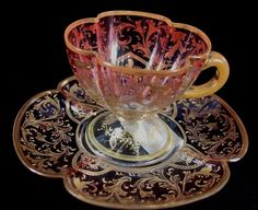 Moser glass demitasse cup and saucer, cranberry cut to clear with lots of gold applied Vintage Crockery, Vintage Cups, Vintage Tea, Tea Cup Set, Cup And Saucer Set, Tea Cup Saucer, Teapots And Cups, Teacups, Glass Coffee Cups