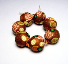 Handmade Beads Polymer Clay Set of Seven by SweetchildJewelry, $17.50
