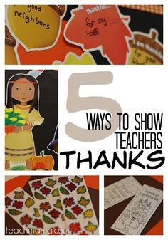 Thanksgiving means a time of thankfulness and gratitude. We should show how much we appreciate those special people in our lives! Here are five ways parents can show thanks for teachers and schools. November is a time of giving thanks. Let's take a minute to show our children's teachers how very much we appreciate them and their hard work. #teachmama #teacherappreciation #grateful #thankful #appreciate #thanksgiving #fallcrafts #teachers #givethanks #fallcraftsforkids #fallteacherappreciation