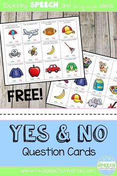 These question cards are great for your students working on yes/no questions in your speech therapy sessions.  Colorful pictures with color coded visuals for yes and no.