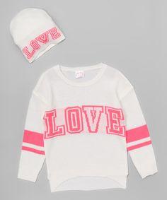 Love this Cream 'Love' Sweater & Beanie - Girls on #zulily! #zulilyfinds