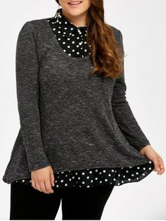 GET $50 NOW | Join RoseGal: Get YOUR $50 NOW!http://www.rosegal.com/plus-size-sweaters-cardigans/plus-size-polka-dot-insert-870568.html?seid=7558296rg870568