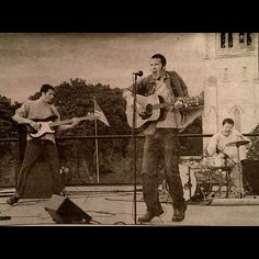Newspaper clipping from 1999. Playing on the roof of The Walker Art Center in Minneapolis. Rob Skoro on bass Chris Stock on drums.  From the scream and the chord I'm holding I'm guessing we are playing the song Godless. All I remember about this show is that we blew the power out on our last song. I think it was a song I had just written called The Light. There is a part near the end where it gets really quiet before we come back in really loud. When we came back in there was a big…