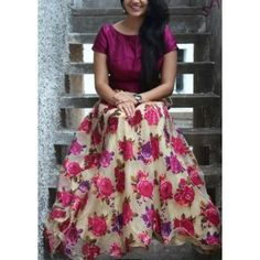 60 Gm Georgette Floral Print Pink & Cream Semi Stitched Lehenga - Jk24