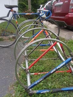 bike rack made from recycled frames