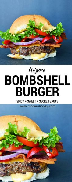 The Arizona Bombshell Burger is made with high quality beef + cheddar cheese + crispy bacon + jalapenos + sweet cherry peppers + crisp green leaf lettuce + red onion + MJ's secret sauce. it's what every burger should be - juicy, spicy, salty and sweet. Gourmet Burgers, Burger Recipes, Grilling Recipes, Beef Recipes, Cooking Recipes, Barbecue Recipes, Cooking Tips, Burger And Fries, Beef Burgers