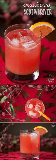 Cranberry Screwdriver drinks, with cranberry vodka, freshly squeezed orange juice, and a splash of Grand Marnier, are a delicious and easy cocktail! Non Alcoholic Drinks, Bar Drinks, Cocktail Drinks, Yummy Drinks, Cocktail Recipes, Margarita Recipes, Summer Cocktails, Vodka Drink Recipes, Summer Beverages