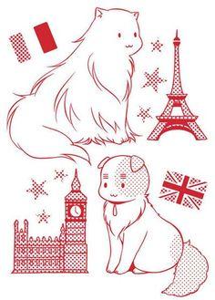 Hetalia-Cat!France,England