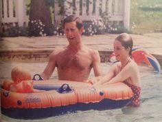 "Rare photo: Diana in Highgrove pool with Charles & Harry, 1986.  Photo from ""In Private/In Public"" book by ITN, photo by Tim Graham."