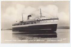 Pere Marquette Ry. train ferry City of Midland 41 at Ludington, Mich.  RPPC 1942