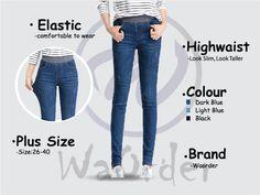 264 Dark Blue Korean Style Women's Elastic Highwaist Jeans Buy Jeans Online Malaysia Light In The Dark, Dark Blue, Light Blue, Buy Jeans Online, Korean Style, Korean Fashion, Skinny Jeans, Plus Size, Slim