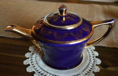 Vintage Hall Teapot Cobalt Blue 6 Cup Teapot with by TeaCrockery