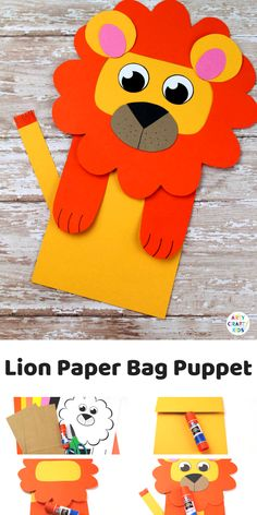 Lion Puppet Paper Bag Craft for Daniel and the Lion's Den - Inexpensive Bible Crafts for Sunday School or Homeschool - Animal Crafts Cute Kids Crafts, Animal Crafts For Kids, Creative Crafts, Preschool Crafts, Art For Kids, Diy Crafts, Kids Diy, Lion Kids Crafts, Decor Crafts