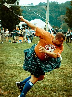 """Big guys in skirts throwing around heavy things!"" - the announcer at the highland games"
