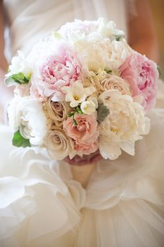 Bouquet | Mixed Peonies and Roses | Neutrals and Pinks | See more on SMP: http://www.stylemepretty.com/new-york-weddings/2013/11/15/sleepy-hollow-country-club-wedding-from-sara-wight-photography | Photography: Sara Wight Photography