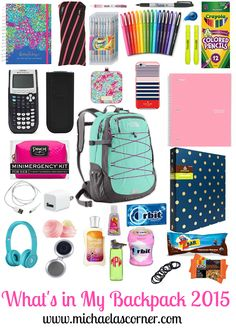 Michaela's Corner: What's In My Backpack 2015