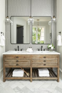 Store bought vanity Store bought bathroom vanity The rustic warmth the Restoration Hardware Printmakers vanity brings in to the space is much needed to keep it from being all gray and white tones Bathroom Vanity Lighting, Bathroom Storage, Bathroom Interior, Small Bathroom, Bathroom Ideas, Bathroom Organization, Master Bathrooms, Bathroom Designs, Bathroom Mirrors