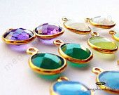 9mm Bezel Gemstone Charm Vermeil Gold F383- 10 pcs (Choose your color)