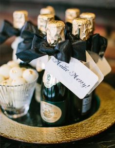 Mini Champagne Bottle Favors for wedding reception or upscale celebration party Wedding Favours, Party Favors, Wedding Gifts, Wedding Reception, Party Gifts, Art Deco Wedding Favors, Elegant Wedding Favors, Wedding Sparklers, Shower Favors