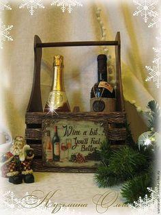 """Купить короб для вина, шампанского """" желаю счастья"""" - коричневый, короб для хранения"""