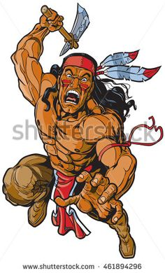 Illustration of Vector cartoon clip art illustration of an Apache Native American warrior or brave leaping toward the viewer and attacking with a tomahawk. vector art, clipart and stock vectors. Native American Drawing, Apache Native American, Apache Indian, Native American Warrior, Native American Wisdom, American Indian Art, Native American History, Art And Illustration, Forte Apache