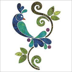 Peacock - Batik - Applique Set