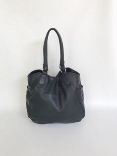 Black Leather Tote Bag with Pockets Carryall Purse by Fgalaze Tote Bags  Handmade 4523d650cc0b1