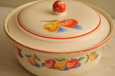 1930s 1940s Harker Art Deco Casserole with Lid Dish Red Apples Yellow Pears