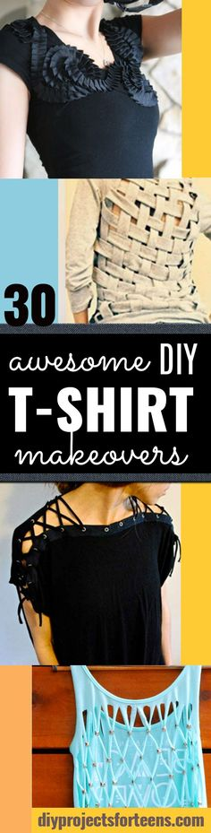 DIY T-Shirt Makeovers - Awesome Way to Upcycle Tees - Cool No Sew Tshirt Cutting Tutorials, Simple Summer Cutouts, How To Make Halter Tops and T-Shirt Dresses. Easy Tutorials and Instructions for Teen
