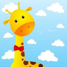 Funny Giraffe Nursery Wall Murals, Wall Decals, Fabric Wall Art, Canvas Fabric, Sky Day, Funny Giraffe, Wall Design, Canvas Wall Art, Easy Install