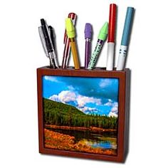 The snake river that runs through Yellowstone National Park in fall Tile Pen Holder