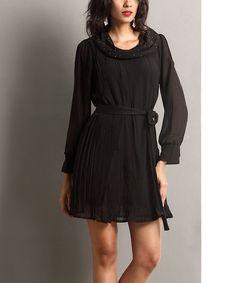 Look what I found on #zulily! Black Tie-Waist Cowl Neck Dress #zulilyfinds
