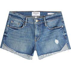 Frame Denim Le Cutoff Tulip Denim Shorts ($239) ❤ liked on Polyvore featuring shorts, blue, short cut off jean shorts, blue denim shorts, summer shorts, cut-off jean shorts and tulip shorts