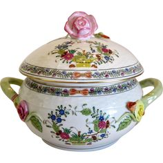 Herend porcelain Tureen Multi Color Indian Basket, mid 20th century from chateau on Ruby Lane