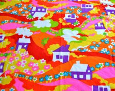Vintage Fabric - Mod Landscape Flowers and Houses - 40 x 33