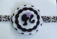Black and White Felt Flower Headband  Baby by TrendyMunchkins, $8.00